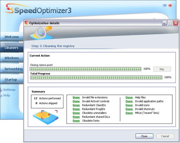 Домой. Системные утилиты. SpeedOptimizer. Скриншот 2.
